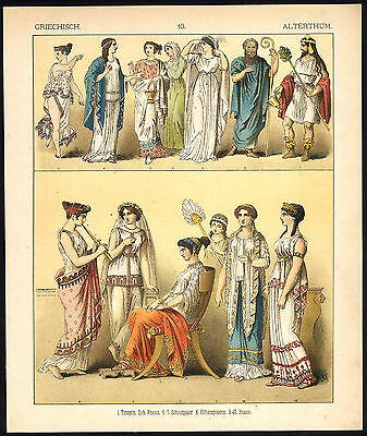 Antique Print-ANCIENT GREECE-ACTOR-DANCER-MUSIC-PL. 10-Kretschmer-Rohrbach-1882