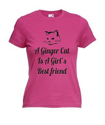 A GINGER CAT IS A GIRL'S BEST FRIEND T-SHIRT Christmas Gift Mothers Day