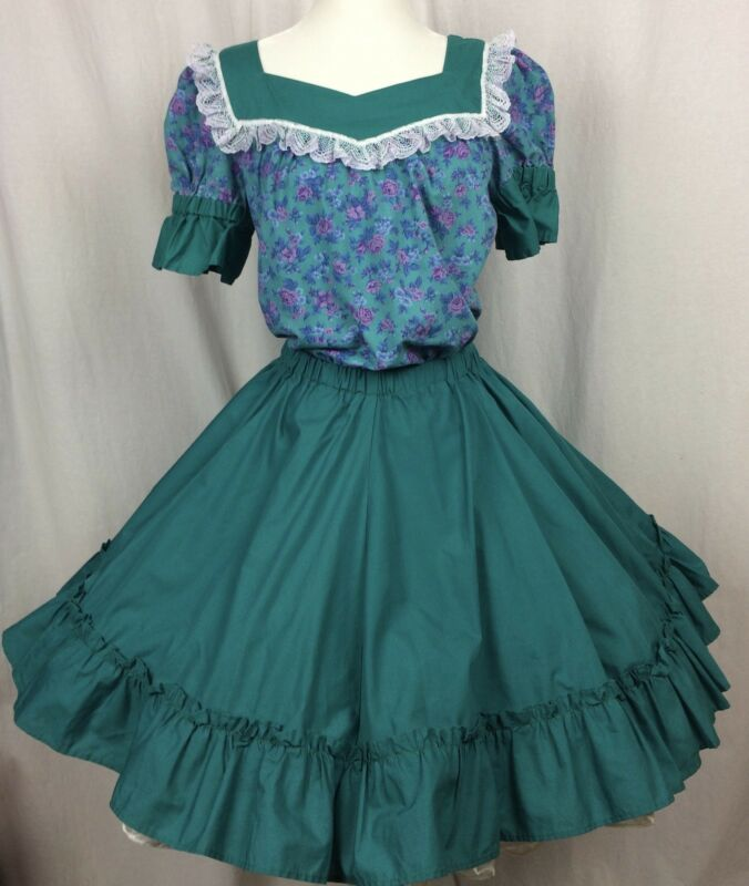 Square Dance Outfit Skirt Blouse Teal and Floral Lace trim Ruffled Hem Small