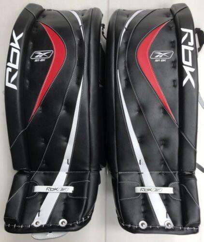 """New Reebok 8k Ice Hockey Goalie Leg Pads size 35"""" senior black red sr equipment"""