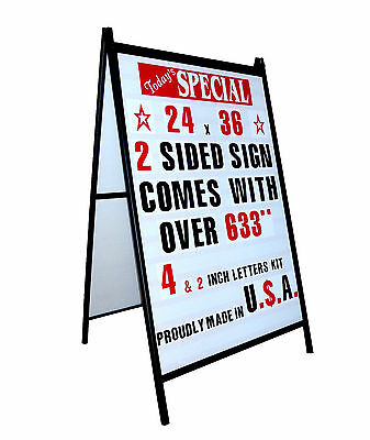 A Frame Changeable Letters Sidewalk Sign With 2 4 Letters Set 24x 36