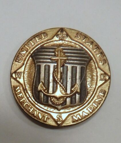 VINTAGE WW2 WWII UNITED STATES MERCHANT MARINE STERLING Badge / PIN