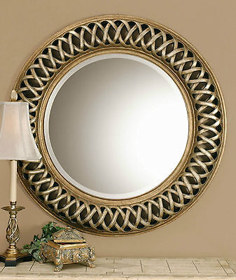 "NEW HUGE 45"" ROUND ANTIQUED SILVER & GOLD WALL MIRROR MODERN OPEN WOVEN STYLE"