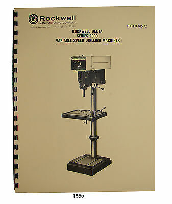Rockwell Delta 20 Series 2000 Variable Speed Drill Press Op Part Manual 1655