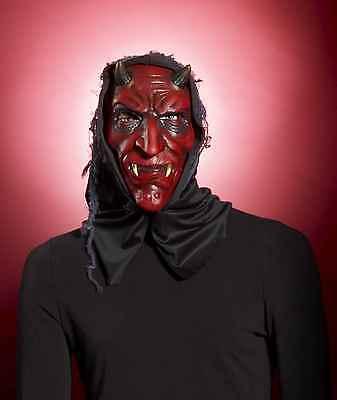 HOODED RED DEVIL MASK-HORNS DEMON LUCIFUR DARK ANGEL HALLOWEEN COSTUME ACCESSORY (Dark Angel Halloween Costume Accessories)