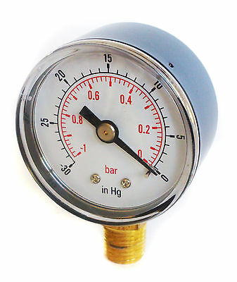 Vacuum Gauge -30*Hg & -1/0 Bar 50mm Dial 1/4 BSPT Bottom connection.