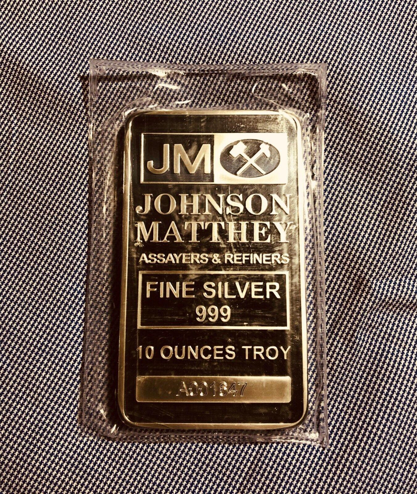 10 Oz JOHNSON MATTHEY Silver Bar A001647 - $361.00