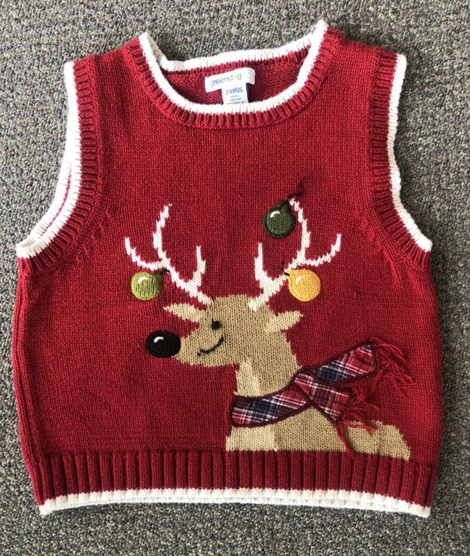 Greendog Vest Sz 24M 24 mo Christmas Toddler Boys Sweater Reindeer red V-Neck