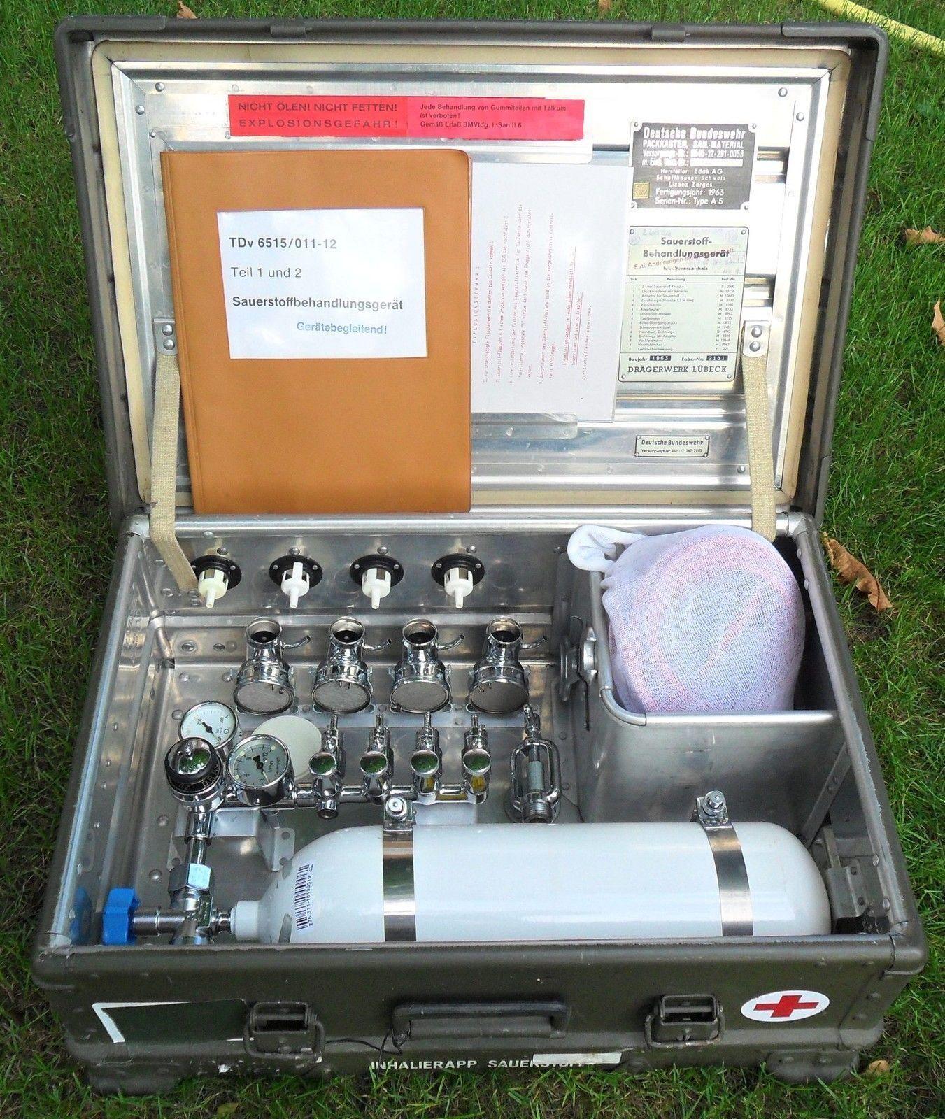 BW Zarges Kiste A5 NEUE BAUART Sauerstoff Inhaliergerät Dräger TÜV bis max 2027