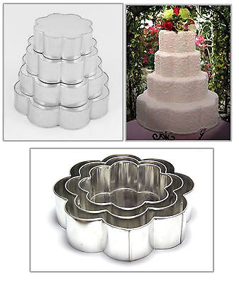 "4 TIER PETAL - FLOWER WEDDING CAKE TIN CAKE PAN 6"" 8"" 10"" 12"""