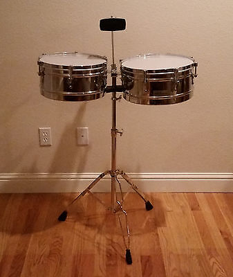 New Aruba Percussion Chrome Timbale Set with Cowbell and Stand free shipping
