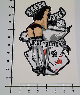 PIN UP MANS RUIN LUCKY THIRTEEN Aufkleber Sticker V8 Poker Girls Las Vegas (Mans Ruin Pin)