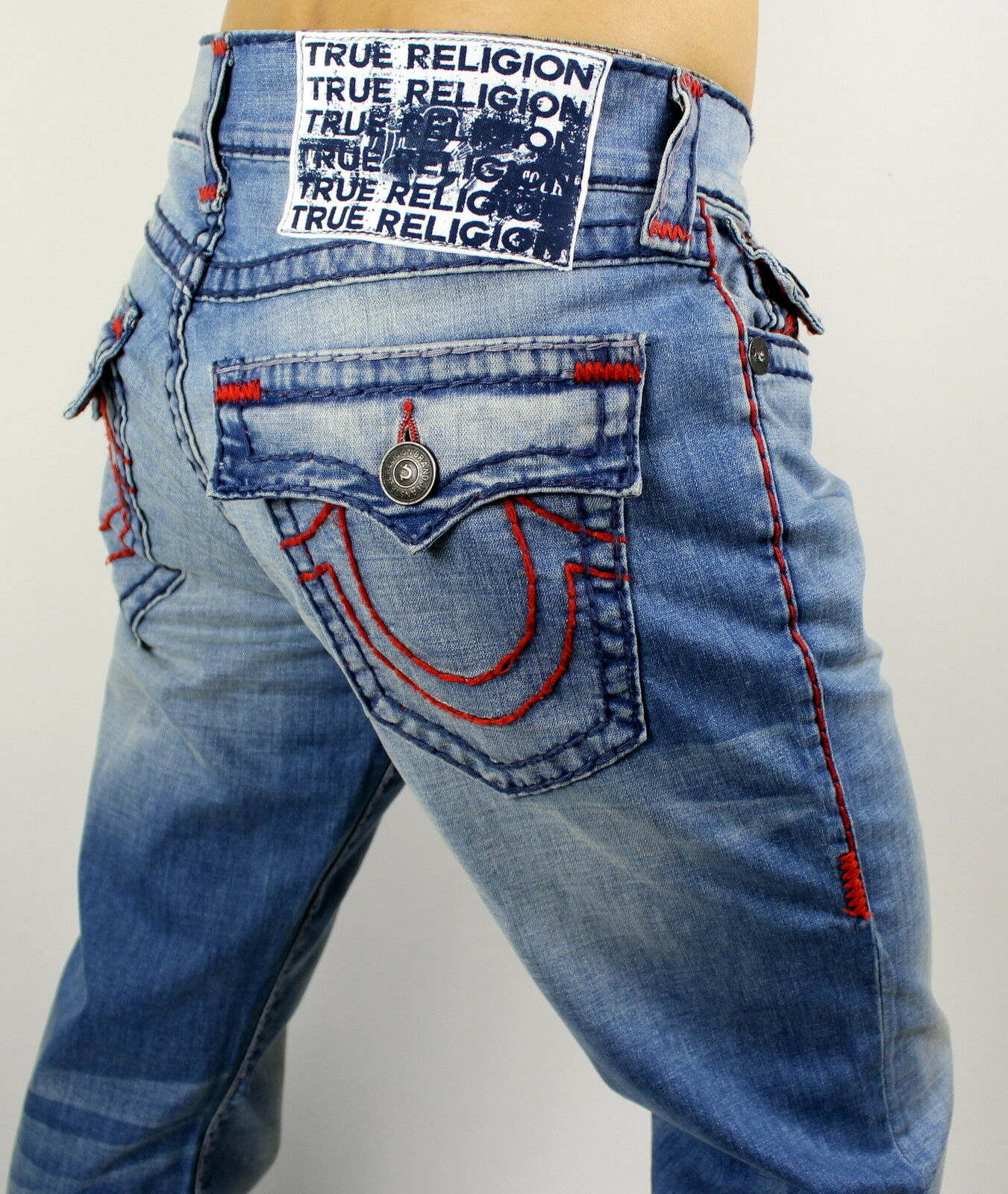 True Religion $329 Ricky Red/Navy Super T Straight Brand Jeans - M859NAAJ