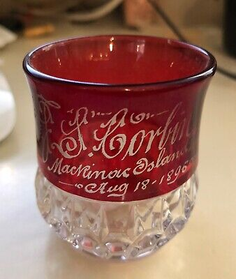 """1896 RUBY RED GLASS ETCHED """"MACKINAC ISLAND"""" DATED 1896, EXC. CONDITION, 2"""" TALL"""