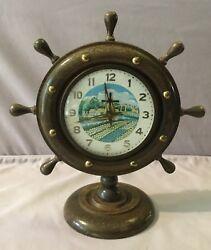 Ship's Wheel Dutch Animated Windmill Wooden Mantel Clock