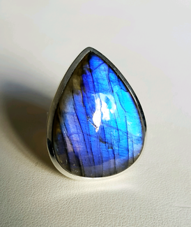 Very large Labradorite Ring, 925 Sterling Silver, size 9 US, NEW