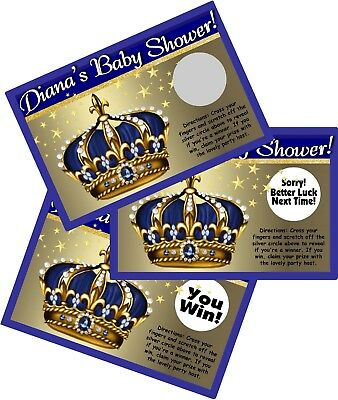 LITTLE PRINCE CROWN BLUE GOLD SCRATCH OFFS PARTY GAMES CARDS BABY SHOWER FAVORS - Baby Shower Cards