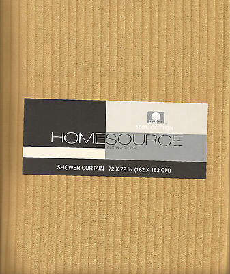 HOME SOURCE OTTOMAN RIBBED MATELASSE WHEAT GOLD SHOWER CURTAIN