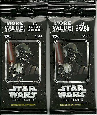 (2) 2016 Topps Star Wars Card Trader New Sealed Retail FAT PACK LOT Darth Vader