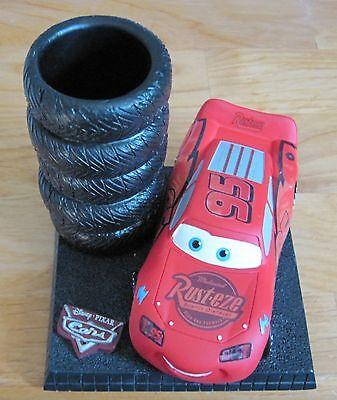 (Disney Pixar Cars Piston Cup Desk Pencil Pen holder LIGHTNING MCQUEEN ... HTF)