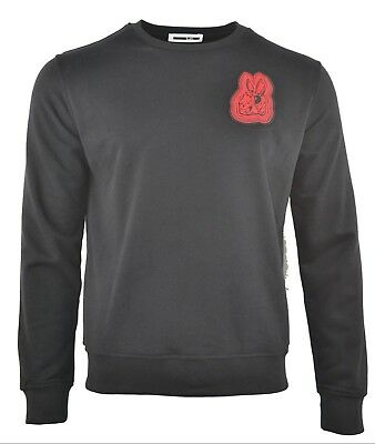 MCQ BUNNY RABBIT EMBROIDERED CHEST PATCH SWEATSHIRT BLACK RED ALEXANDER MCQUEEN