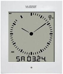 513-1311W La Crosse Technology Analog-Style Digital Atomic Wall Clock - White