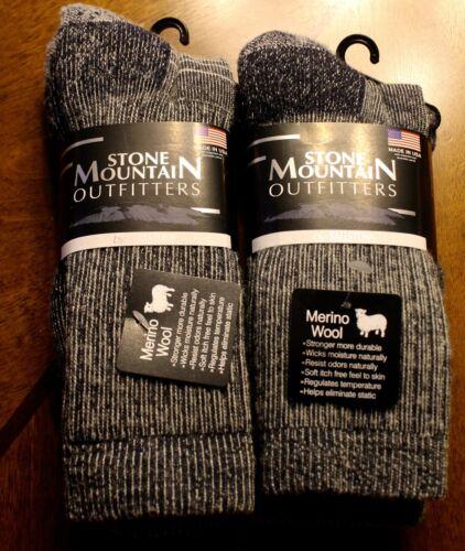 2 Pairs Men / Women 70%  Wool Stone Mountain Outfitter Blue Size 9-11  Free Ship