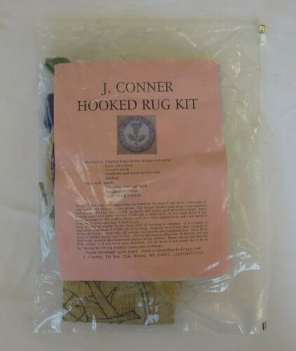"J. Conner Hooked Rug Kit #13 ""Scottish Thistle""-9"" Round-Made in USA-Opened"