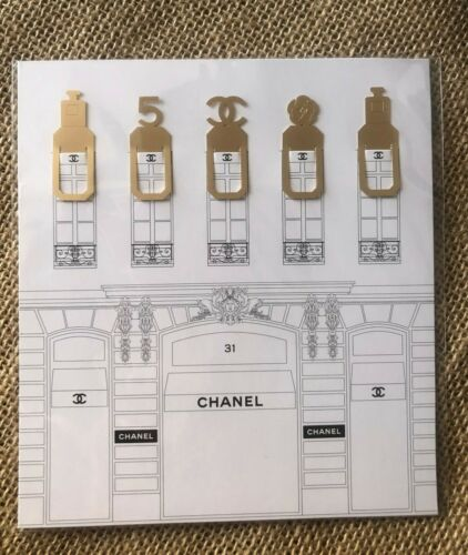 NEW Collectible Set 5 Gold Metallic Bookmarks Gift from Chanel Beaute USA-Seller