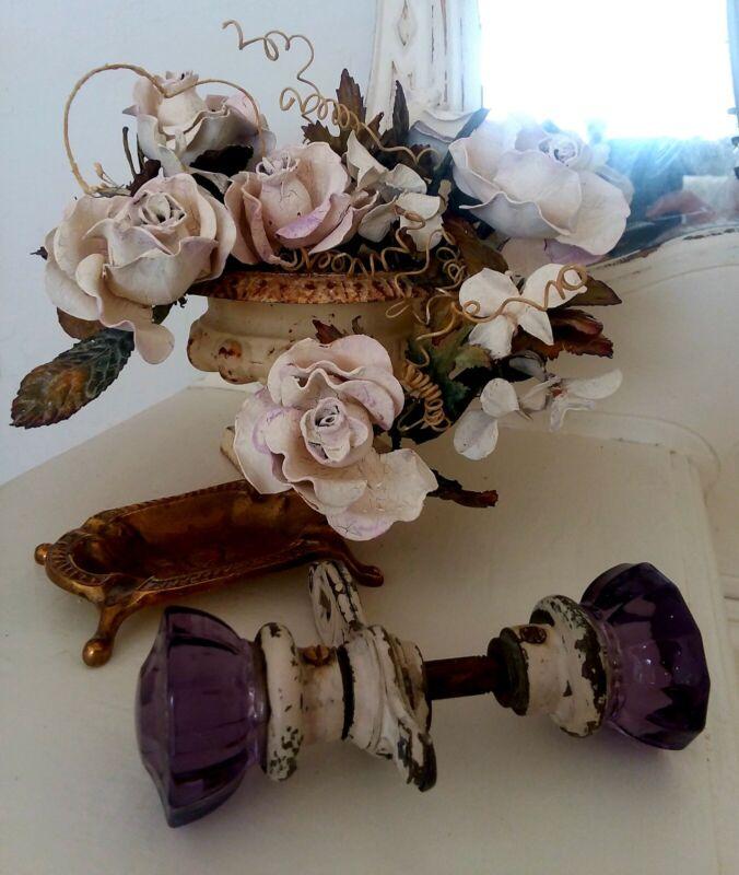 Vintage Purple Glass Door Knobs
