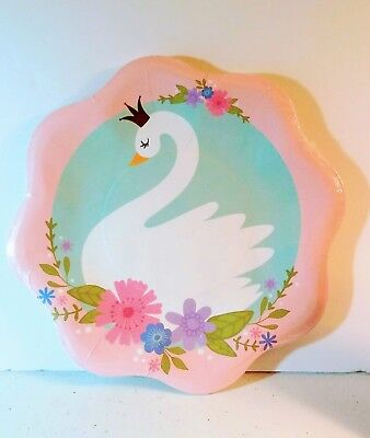 SWAN Princess Party Paper Dinner Plates Birthday  Baby Shower Supplies  8 ct - Baby Princess Party Supplies