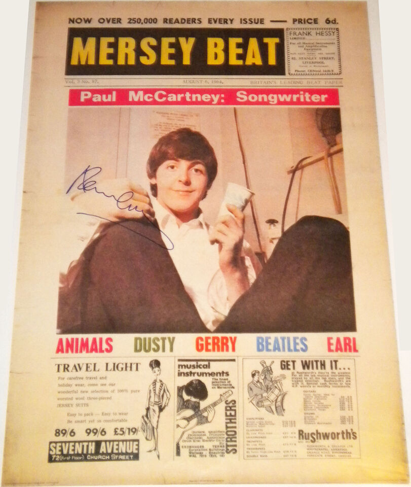 PAUL MCCARTNEY BEATLES SIGNED AUTOGRAPHED 1964 MERSEY BEAT POSTER! W/ PROOF! PSA