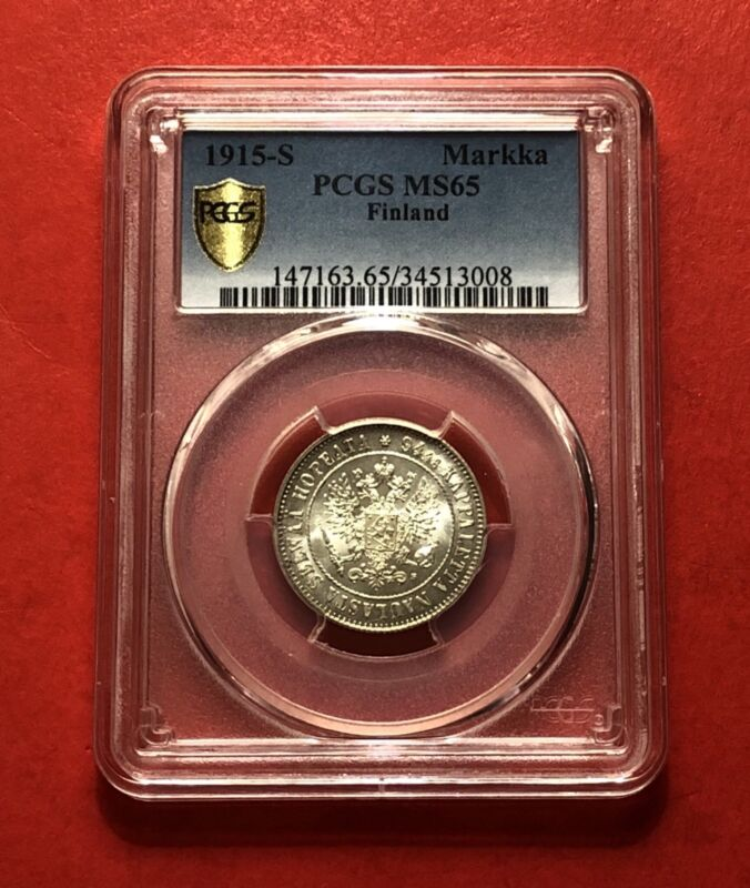 FINLAND-1915 S-UNC,MARKKA ,CERTIFIED BY PCGS MS65,RARE GRADE...GOOD OPPORTUNITY*
