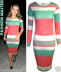WOMENS-NEW-LADIES-CELEB-KIM-KARDASHIAN-SAM-FAIERS-STRIPE-BODYCON-MIDI-DRESS-TOP