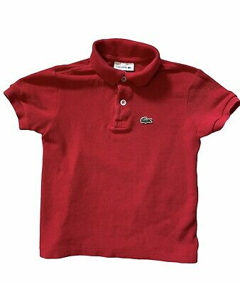 Lacoste, Boys Size 5, Short Sleeve Red Polo Shirt, Youth