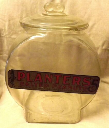 C.1920 PLANTERS PEANUTS STORE COUNTER JAR LARGE ~5 CENT BAG LUNCH~