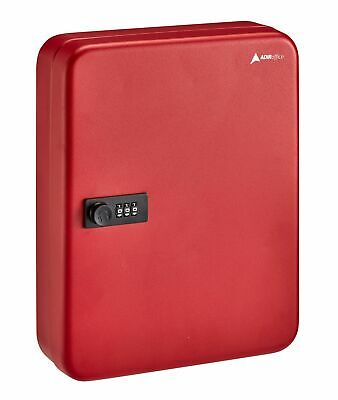 Adiroffice Red Steel 60 Key Secure Cabinet Combination Lock Key Storage Box