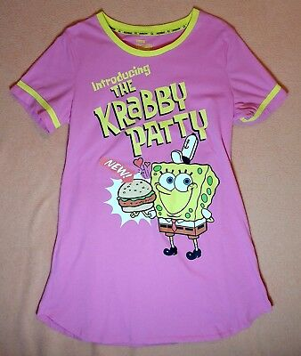 SPONGEBOB INTRODUCING THE KRABBY PATTY PINK LADIES NIGHTY GOWN W/ YELLOW BORDERS](Spongebob Robe)