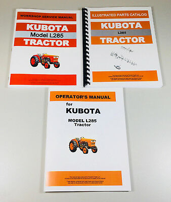 Kubota L285 Tractor Service Parts Operators Manual Shop Book Catalog Ovhl Set
