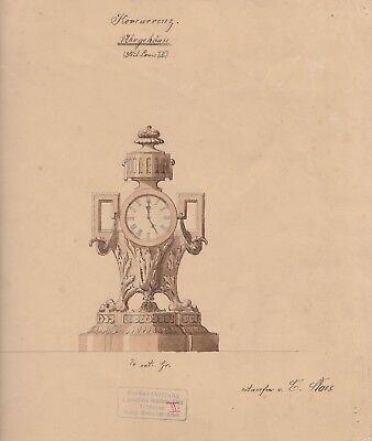 Tuschzeichnung Entwurf - E. Slaes - München Uhrgehäuse im Stil Louis XVI