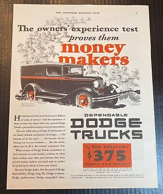 1932 Dodge Panel Delivery Dependable Truck Money Makers Vintage Art Print Ad