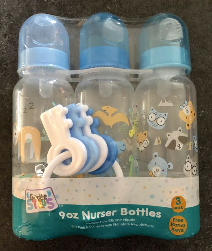 Baby Boy 9oz Bottle Set Of 3 With Bonus Keys Silicone Nipples BPA Free Med Flow