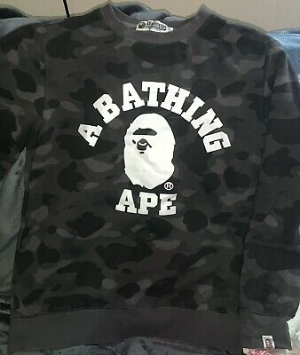 BLACK A BATHING APE CAMO CREWNECK Sweatshirt Size MEDIUM Runs Small
