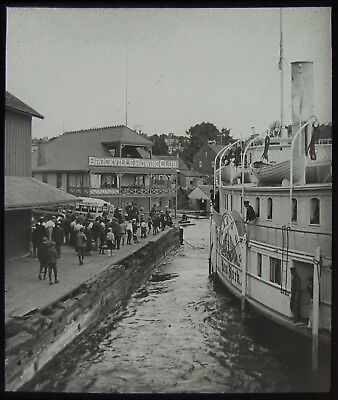Glass Magic Lantern Slide BROCKVILLE ROWING CLUB & STEAMSHIP C1900 PHOTO CANADA