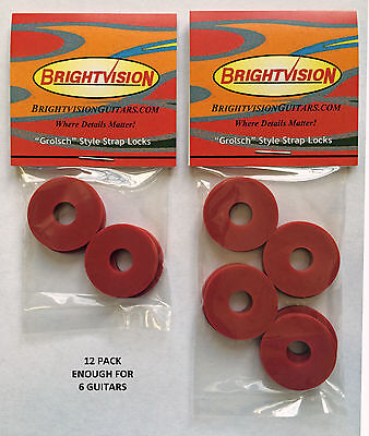 Red Classic Guitar - Twelve RED Rubber Guitar Strap Locks - Grolsch Style - Classic and Reliable