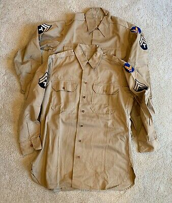 Vtg Lot WW2 Cotton Khaki Enlisted Shirt 15 1/2 x 32 Army Air Force Tec 5 SSI
