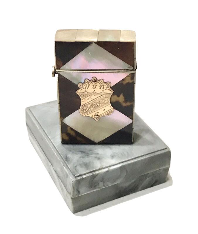 Antique Vintage 1800' Engraved Gold MOP Vesta Match Safe Case Holder Old