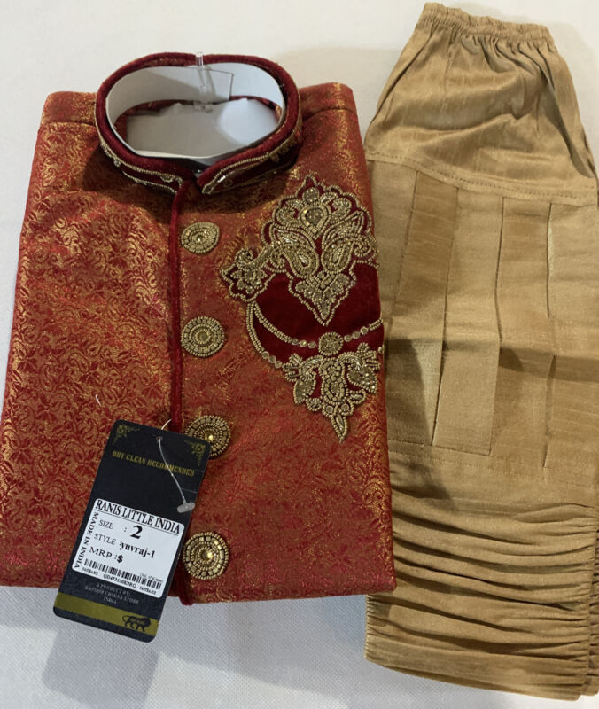 VASTRA Boys Kurta Dhoti sherwani Indian Pakistani Ethnic wedding Party Size 2