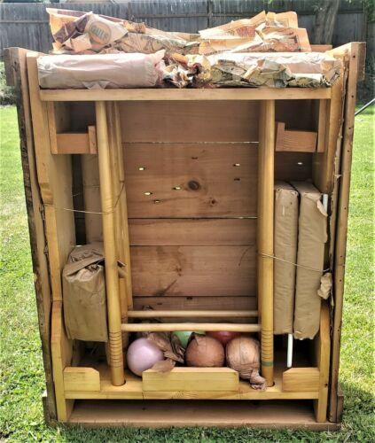 1930`s Vintage 6 Player Wooden Croquet Set Backyard Lawn Game Original Crate