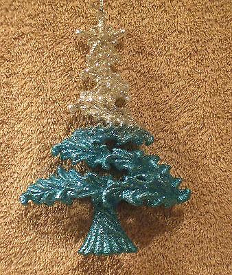 Acrylic Aqua & Silver Glitter Tree Christmas Ornament - New